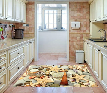 3D Beach Rock Shells Kitchen Mat Floor Mural