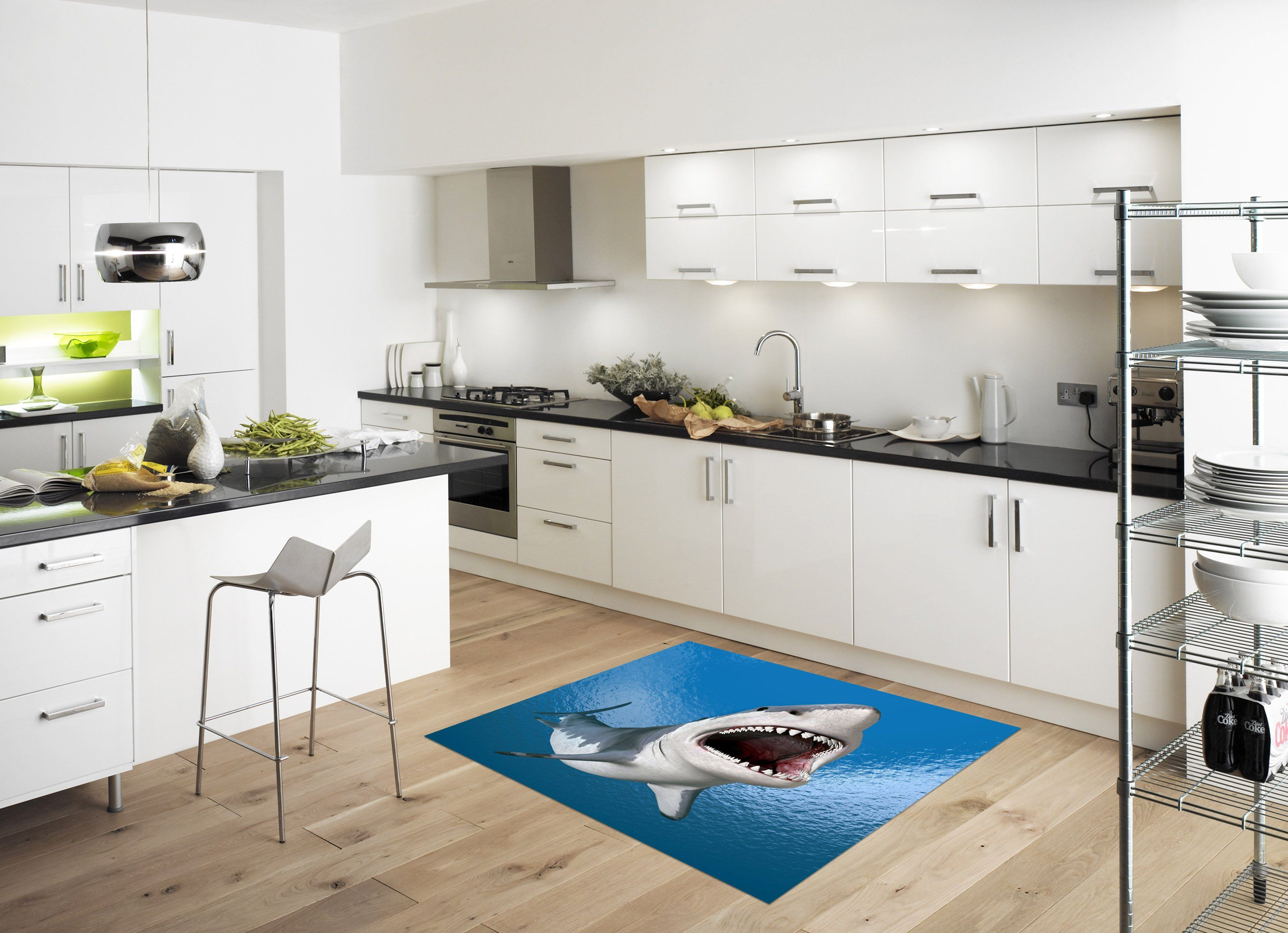 3D Big Shark 020 Kitchen Mat Floor Mural