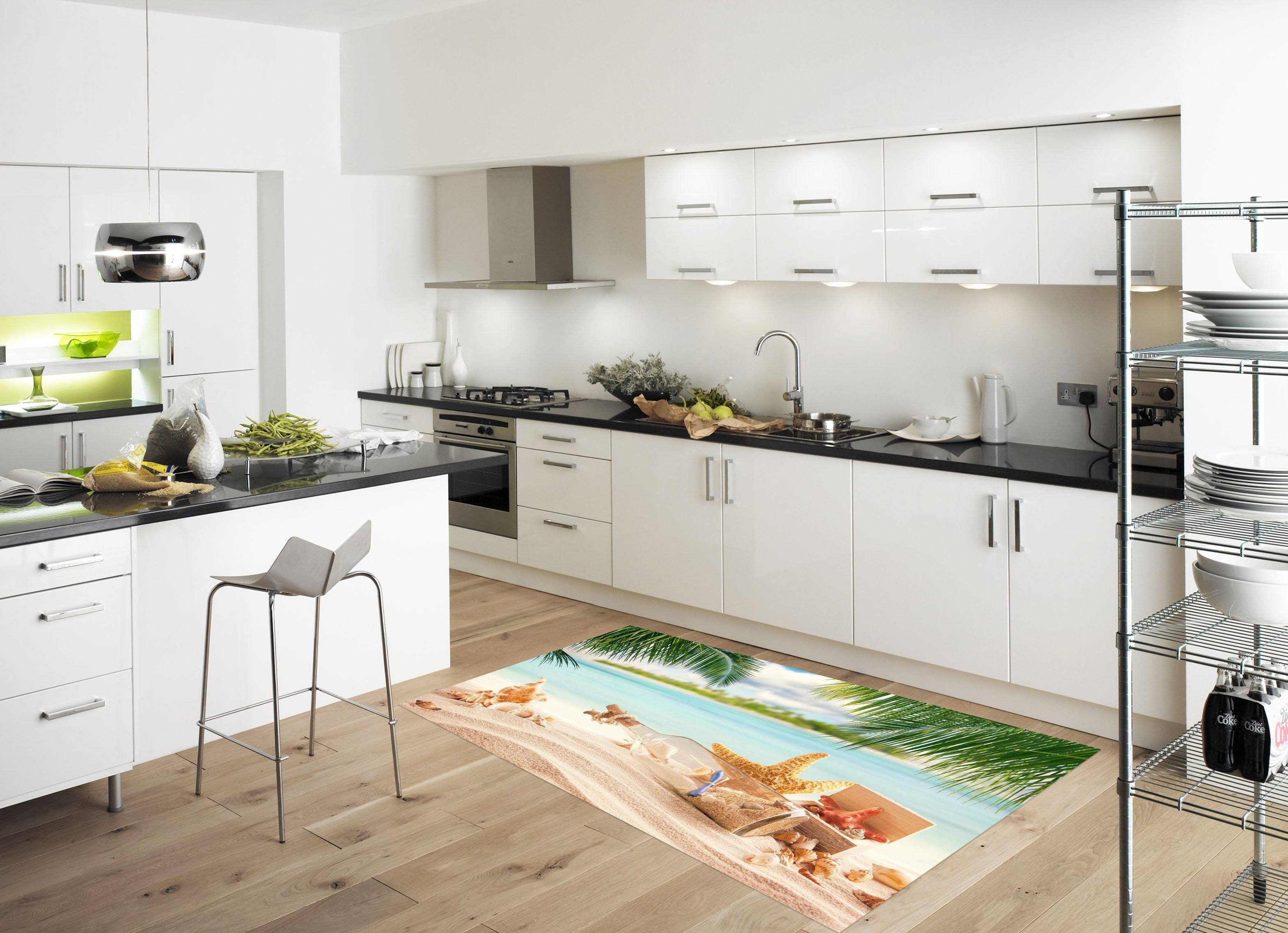 3D Beach Drifting Bottle 091 Kitchen Mat Floor Mural