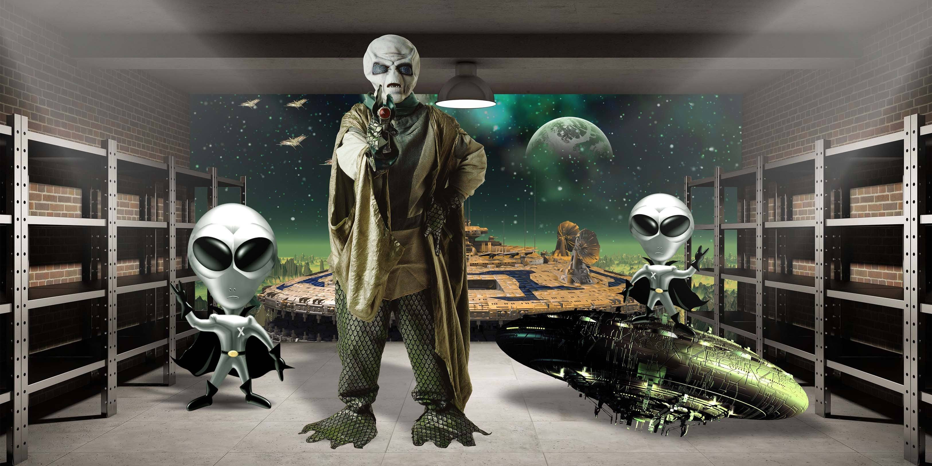 3D Aliens 400 Garage Door Mural