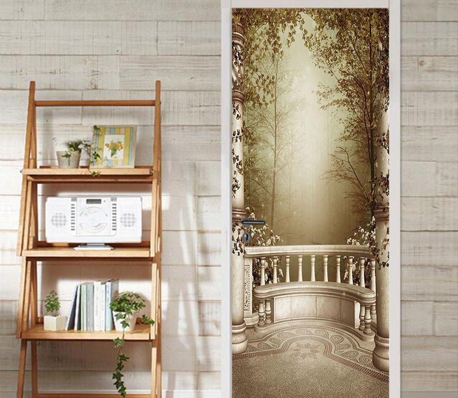 3D balcony sunshine woods door mural