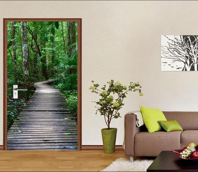 3D forest wooden path 14 door mural Wallpaper AJ Wallpaper