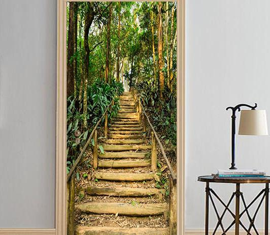 3D wooden stairs in the woods door mural Wallpaper AJ Wallpaper