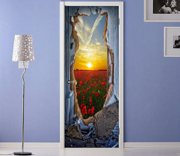 3D flowers outside the wall door mural Wallpaper AJ Wallpaper