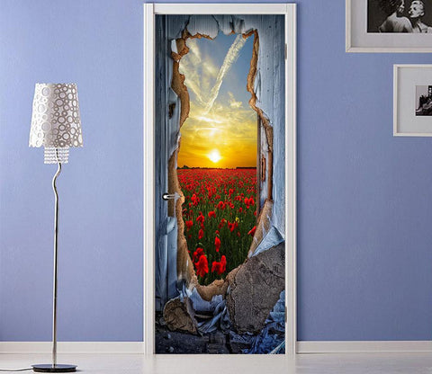 3D  flowers outside the wall door mural