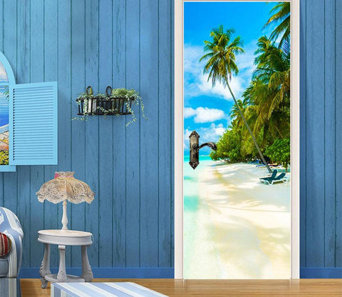3D beach palm tree white clouds door mural