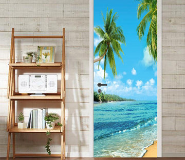 3D coconut tree seawater waves door mural Wallpaper AJ Wallpaper