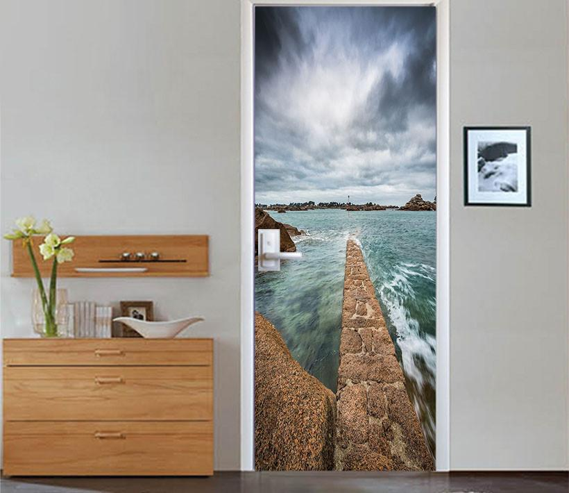 3D road in the sea white clouds door mural Wallpaper AJ Wallpaper
