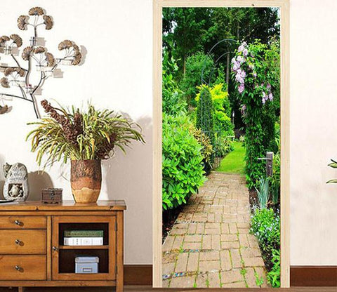 3D stone road green trees door mural