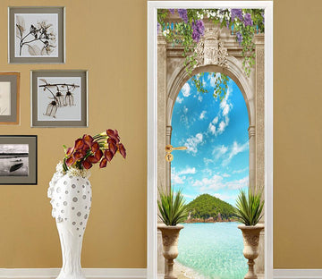 3D castle peak blue sky and white clouds painting door mural Wallpaper AJ Wallpaper
