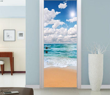3D blue sky and white clouds door mural