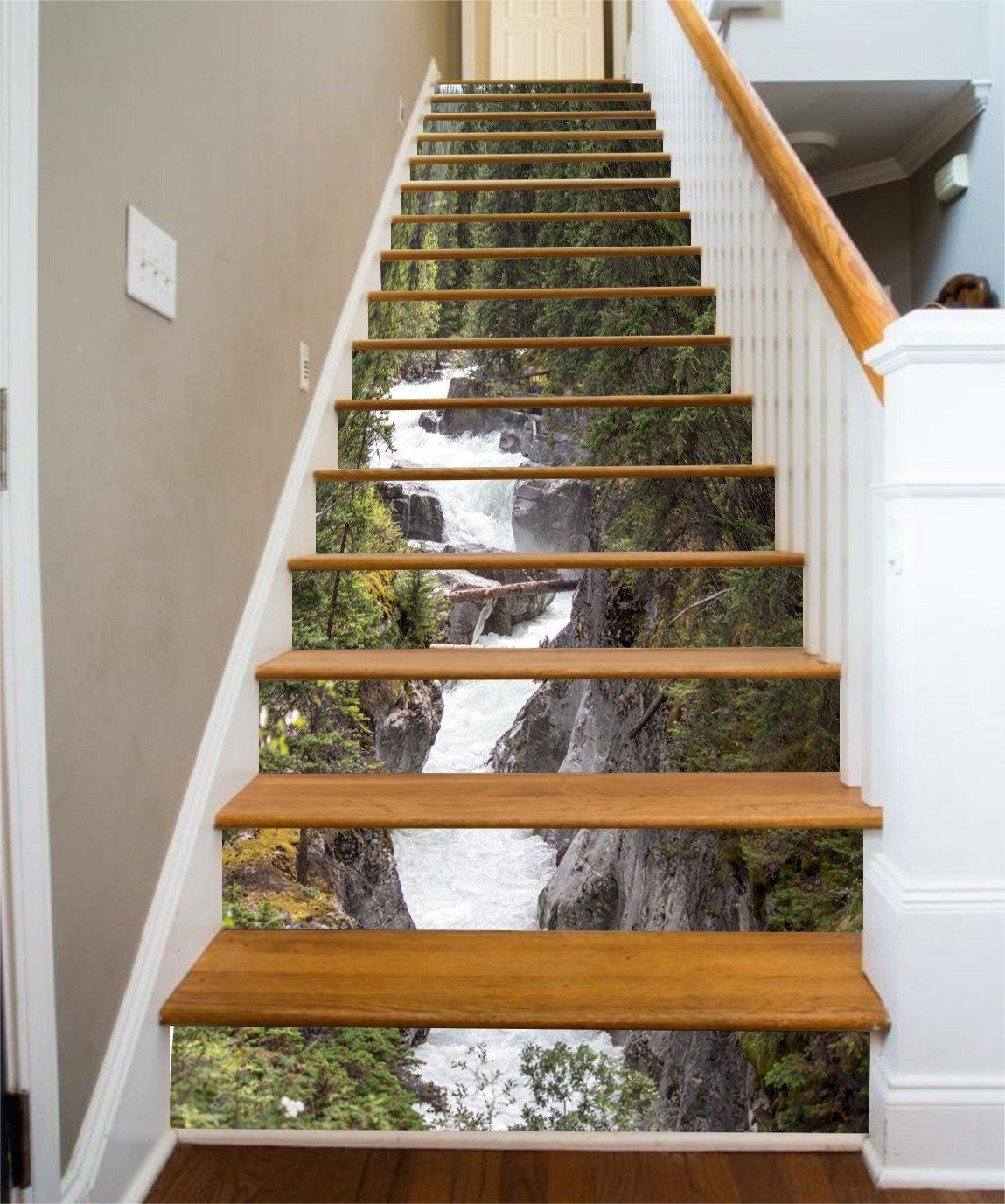 3D Maligne River Stair Risers