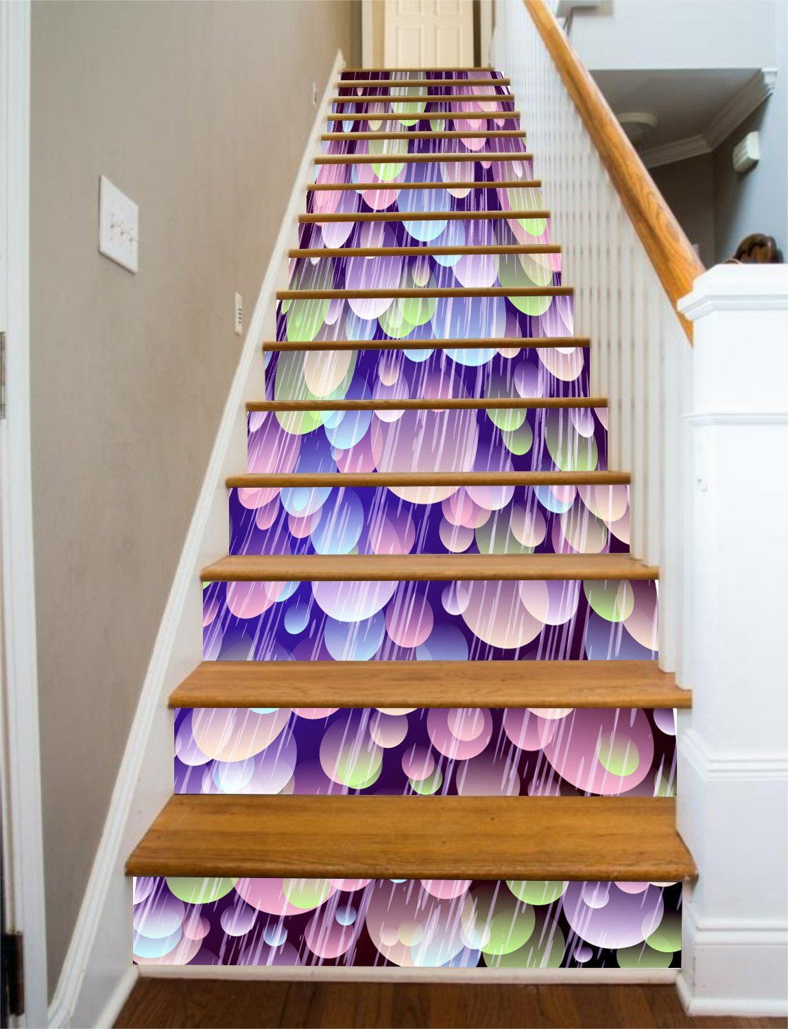 3D Colorful Patterns 7 Stair Risers