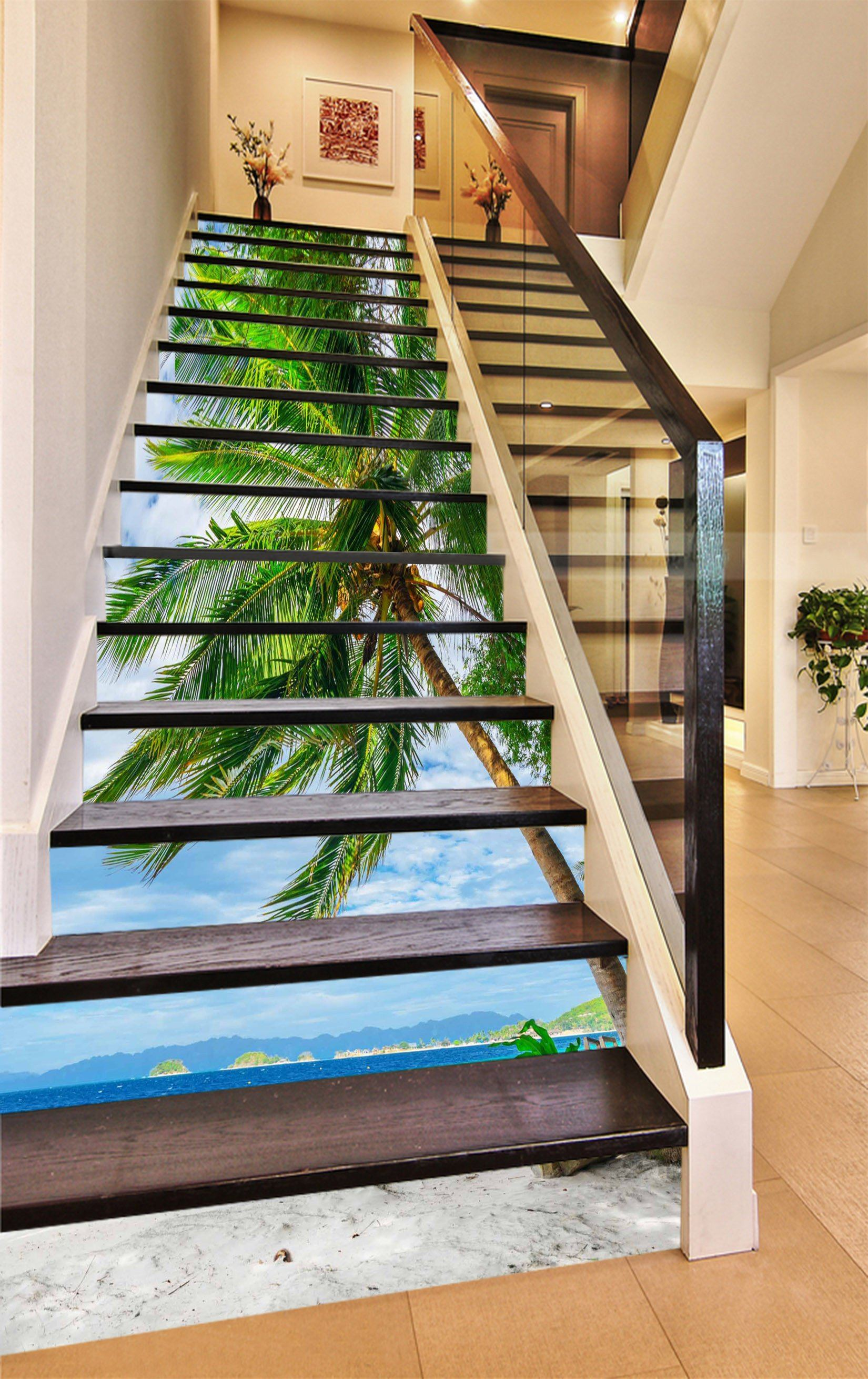 3D Beach Coconut Trees 1026 Stair Risers