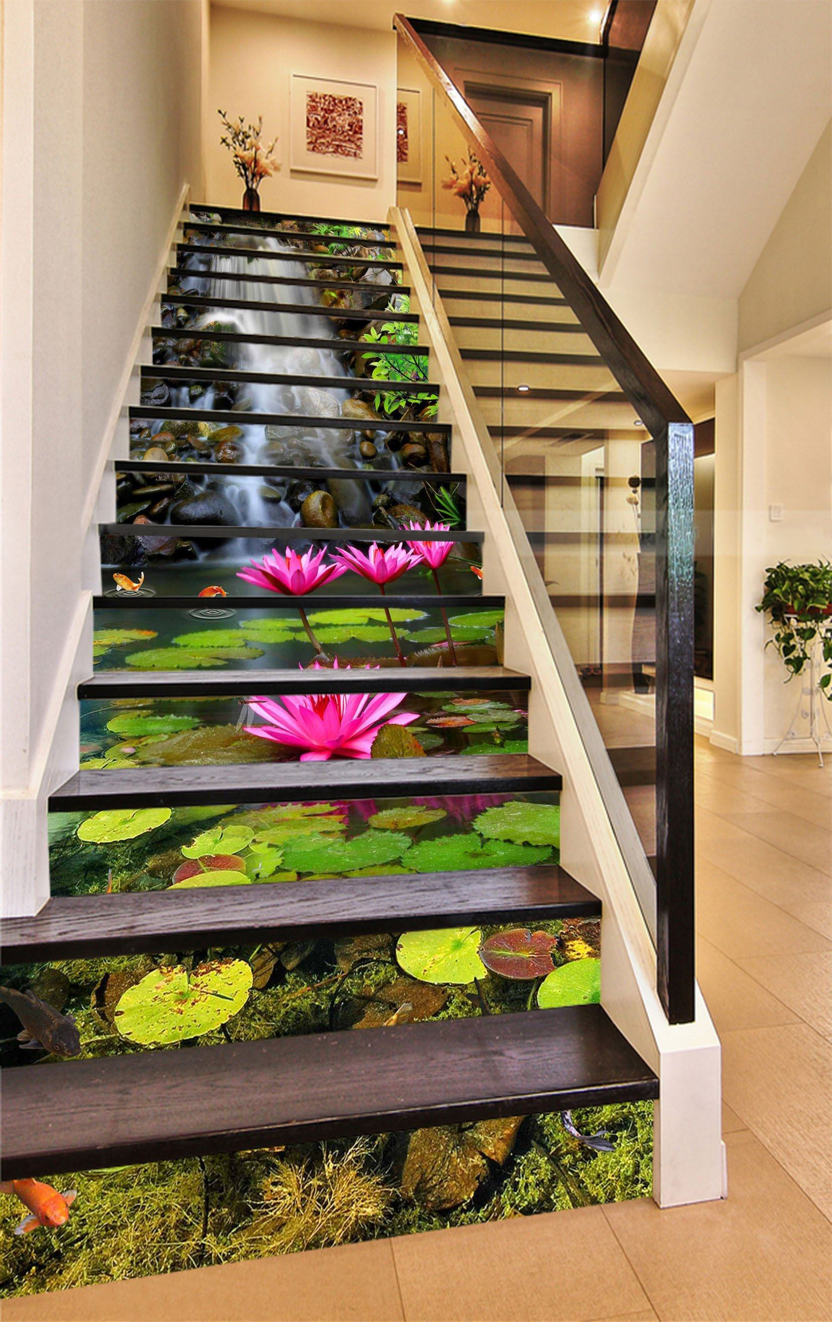 3D Beautiful Water Lily 1604 Stair Risers Wallpaper AJ Wallpaper