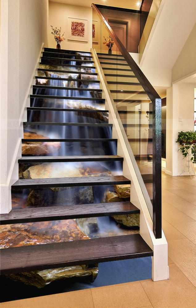 3D River Flowing Throught Rocks 561 Stair Risers
