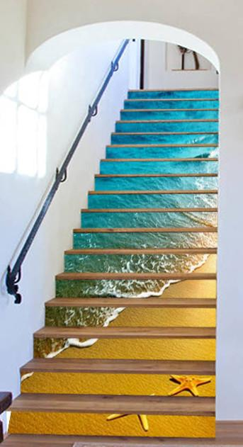 3D Beautiful Beach 797 Stair Risers