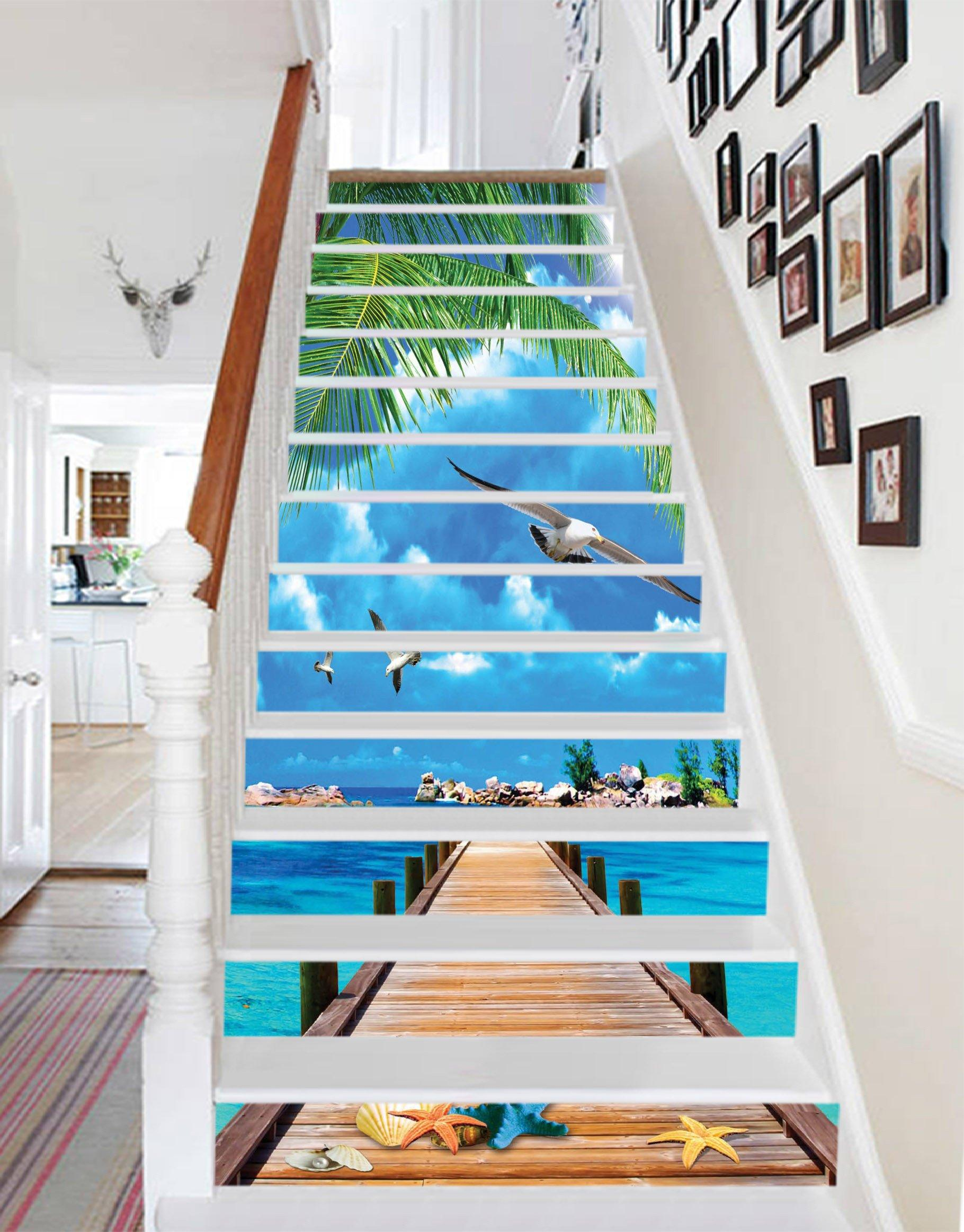 3D Blue Sea Wood Bridge 1286 Stair Risers