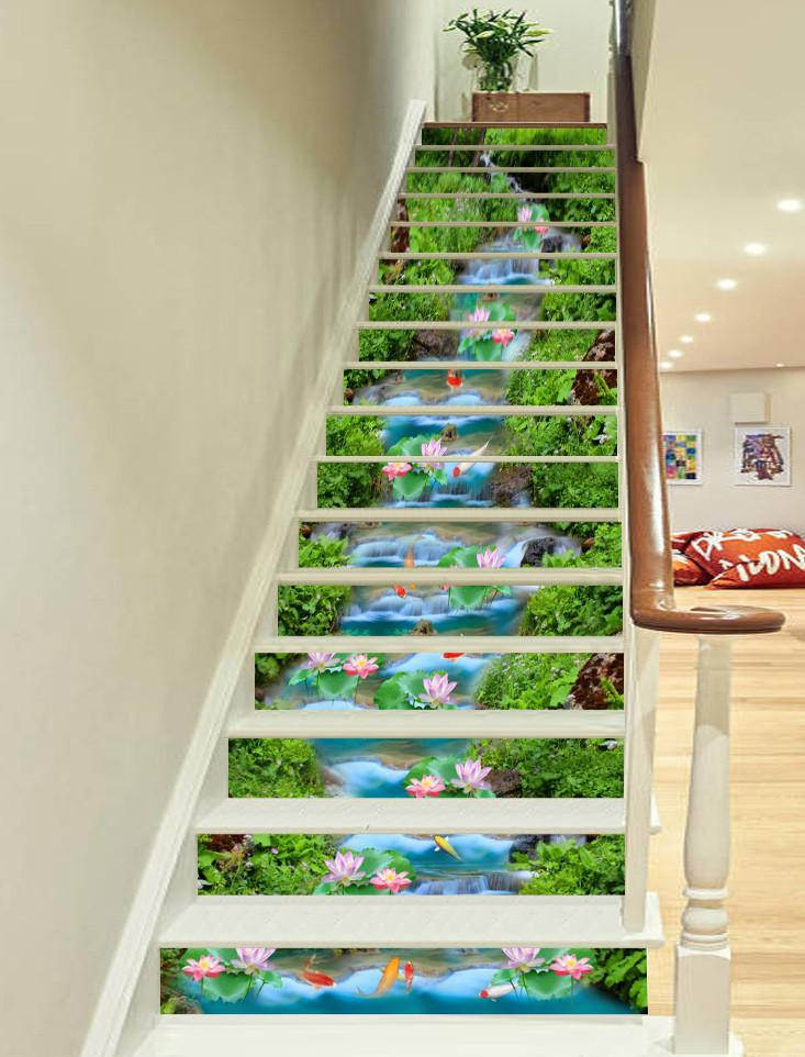 3D Beautiful River Flowers 565 Stair Risers