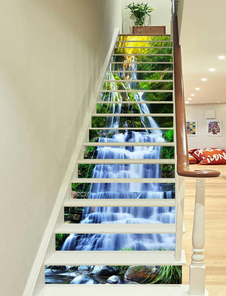 3D Mountain Waterfalls 577 Stair Risers
