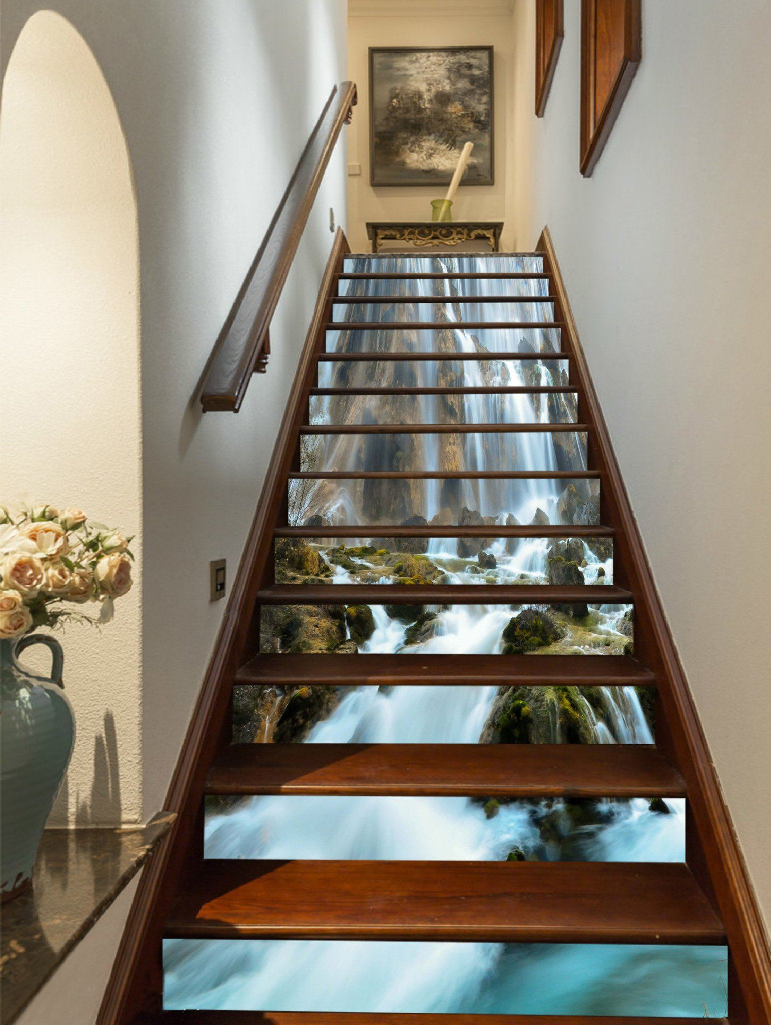 3D Beautiful Waterfall 901 Stair Risers