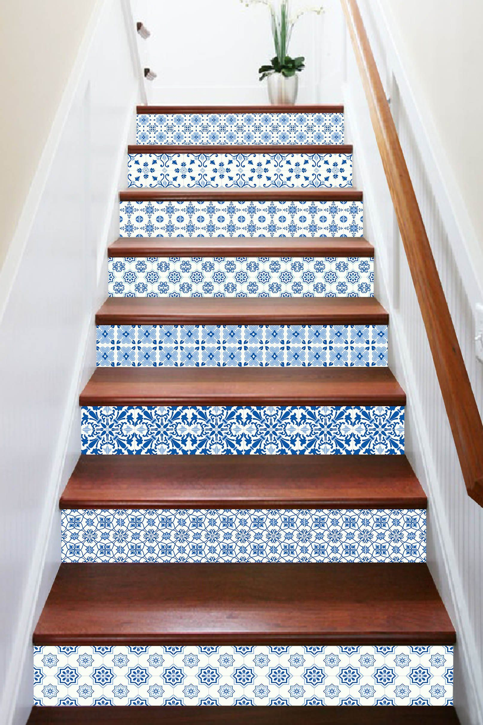 3D Blue Flower Pattern 1691 Stair Risers