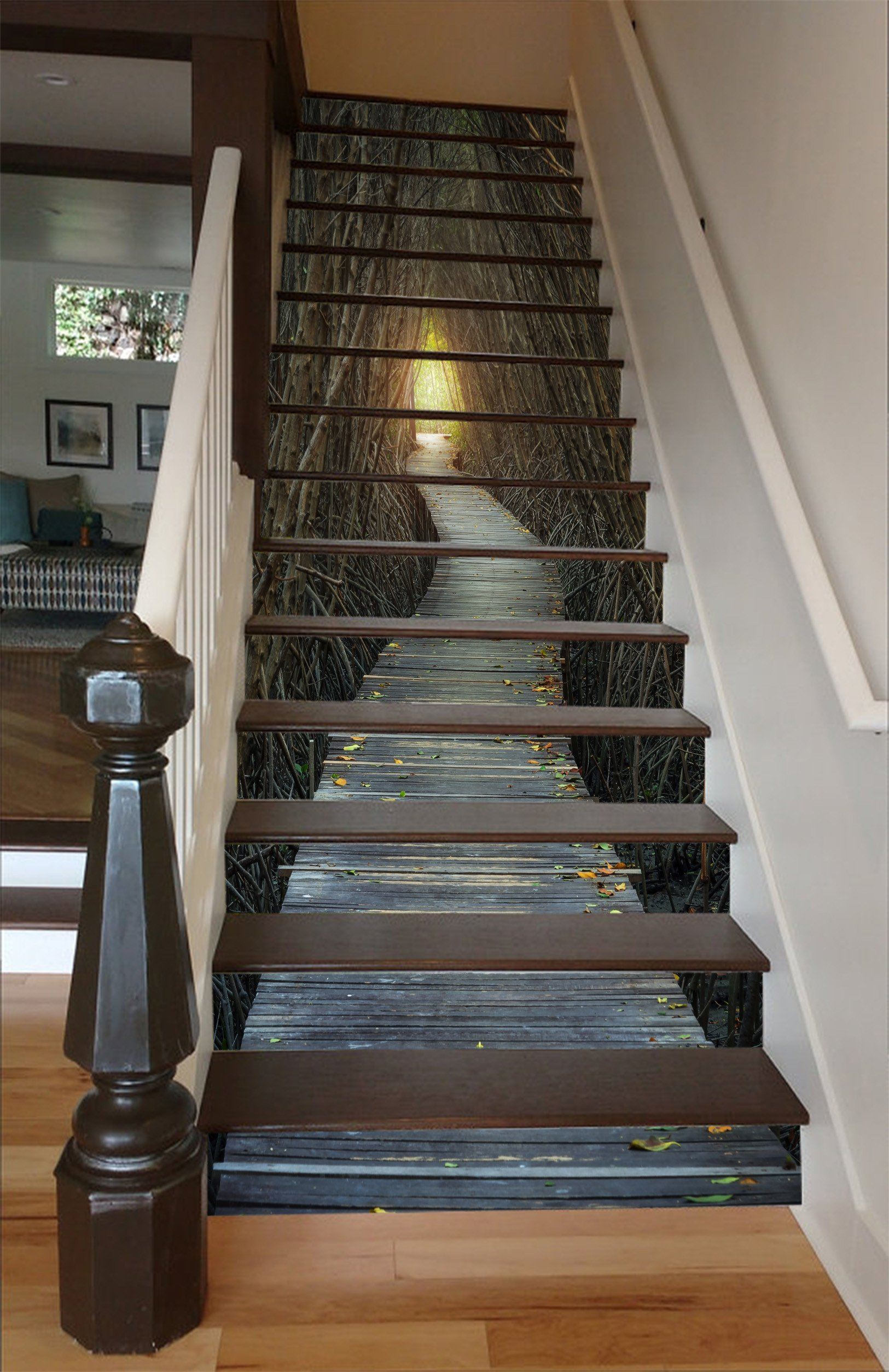 3D Bare Trees Wood Path 1557 Stair Risers