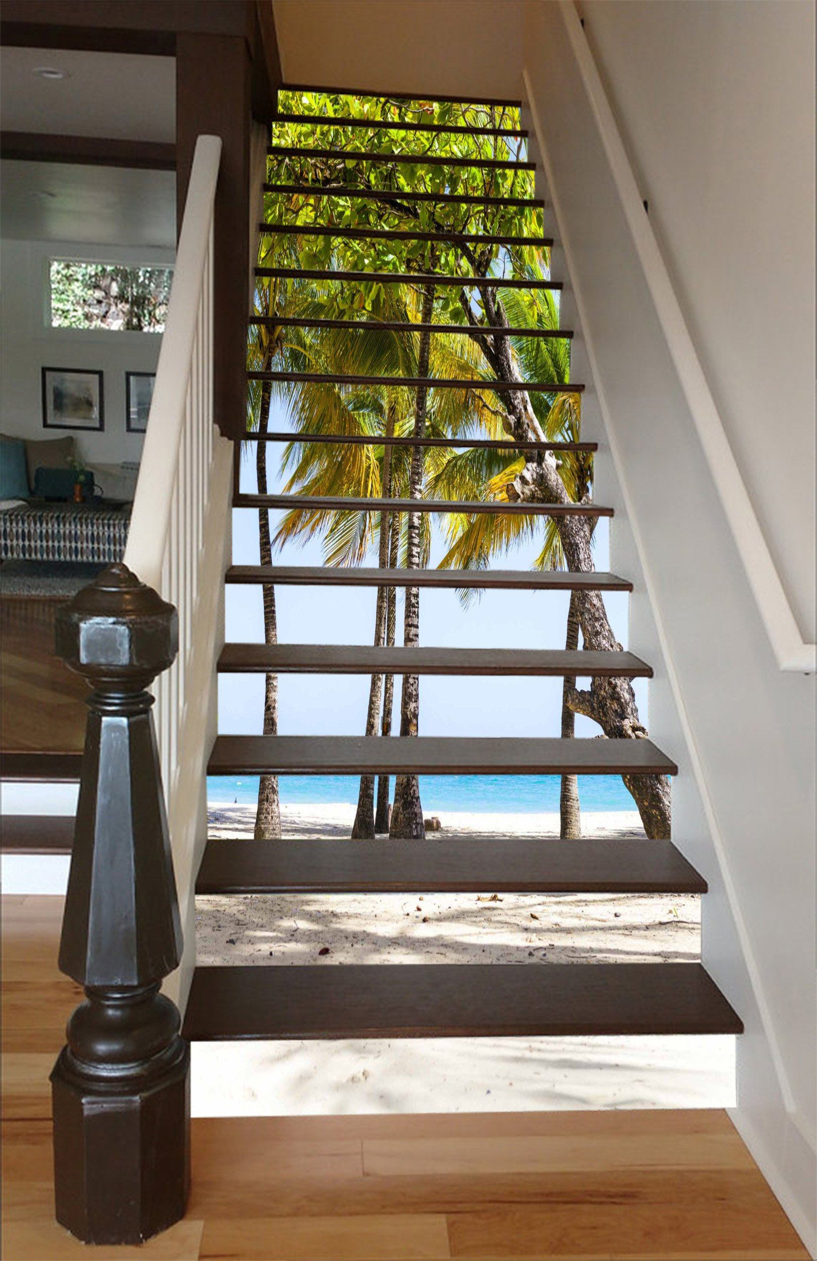 3D Beach Trees 1555 Stair Risers