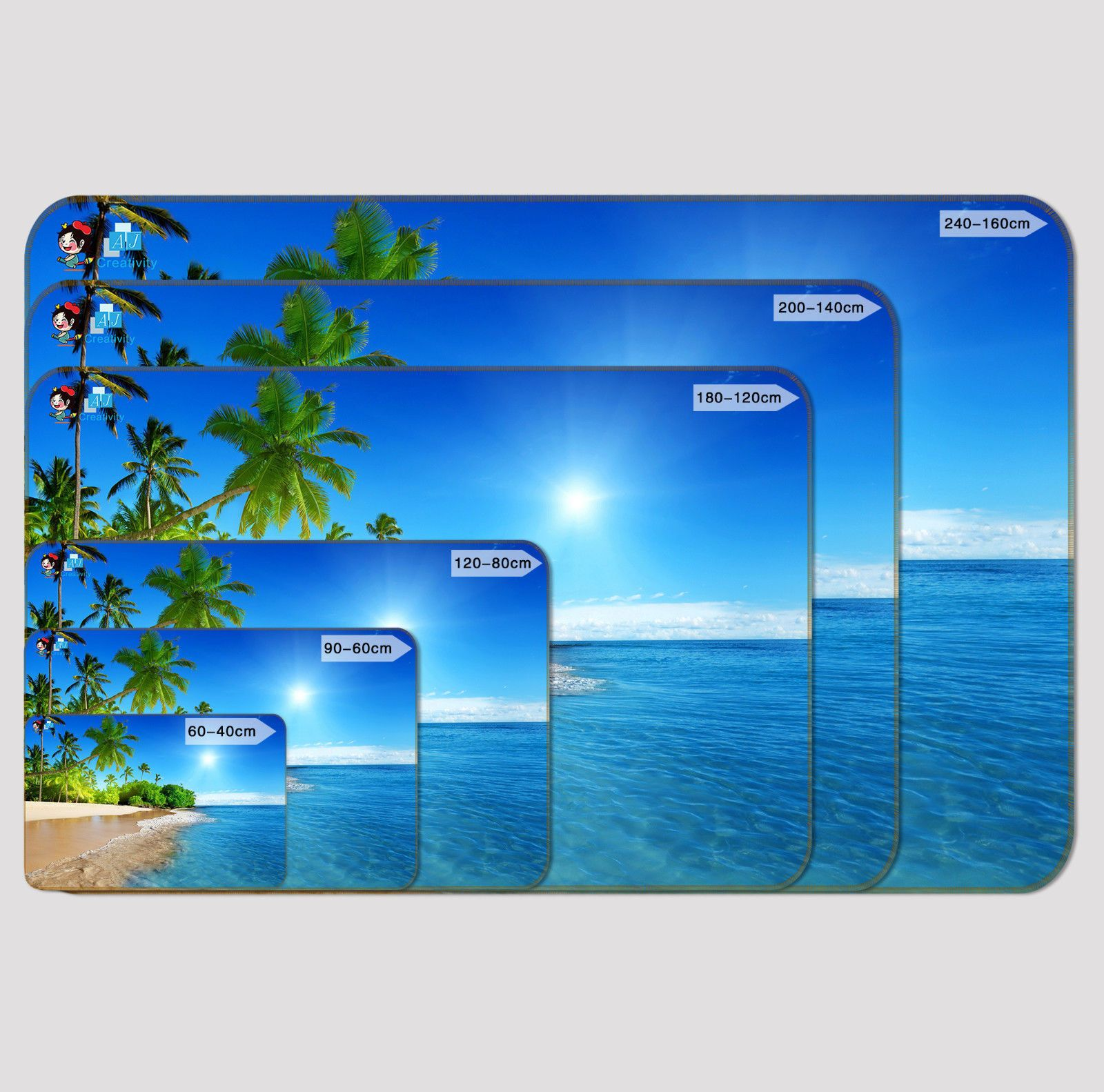 3D Blue Sea High Wave 127 Non Slip Rug Mat