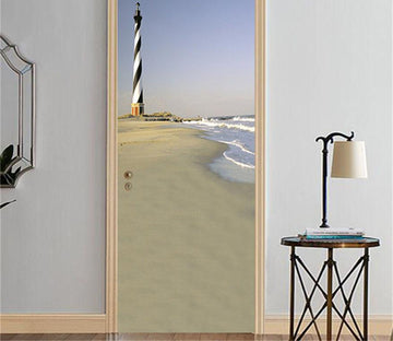 3D beach at low tide door mural Wallpaper AJ Wallpaper