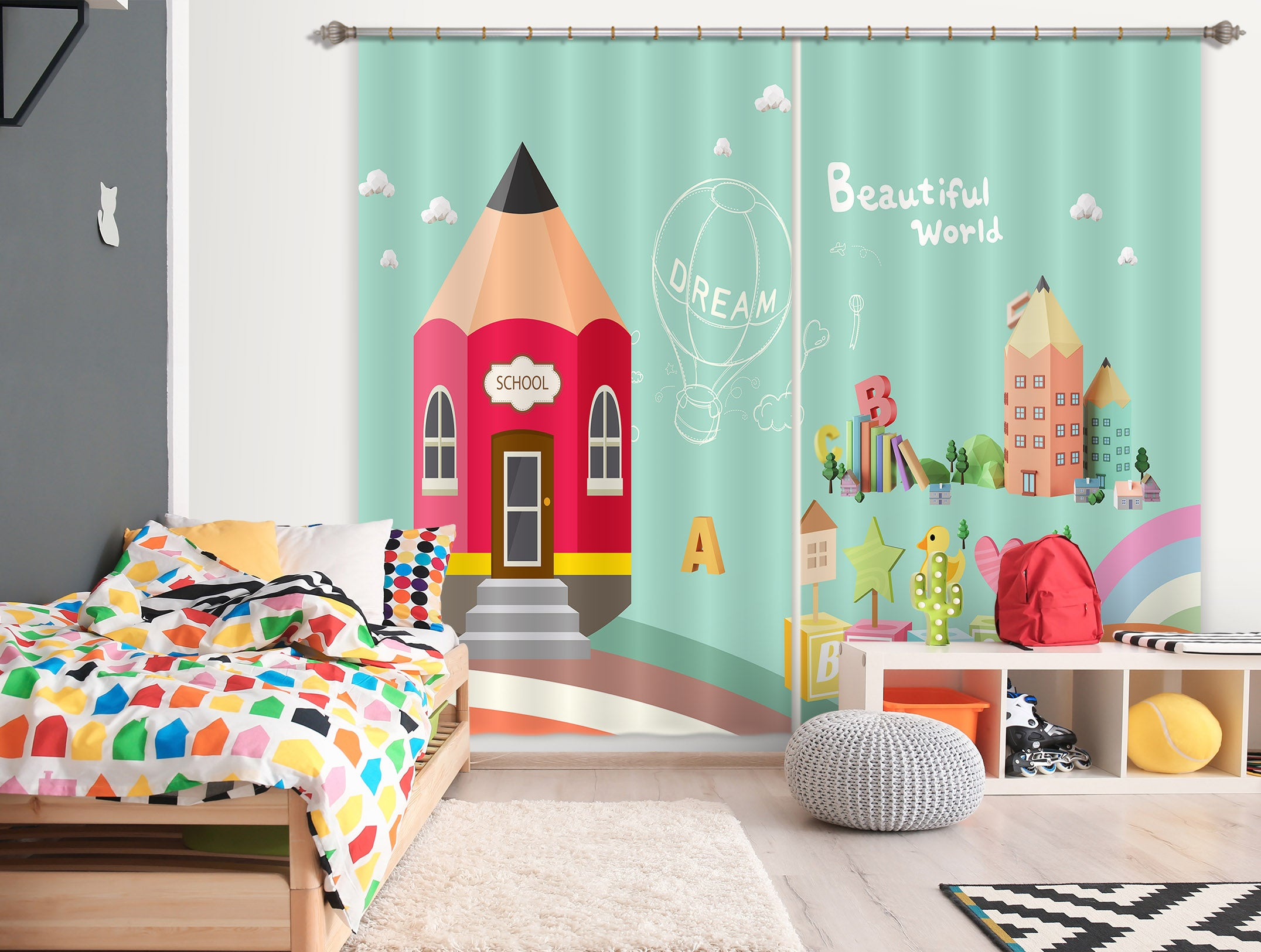 3D Pencil House 754 Curtains Drapes