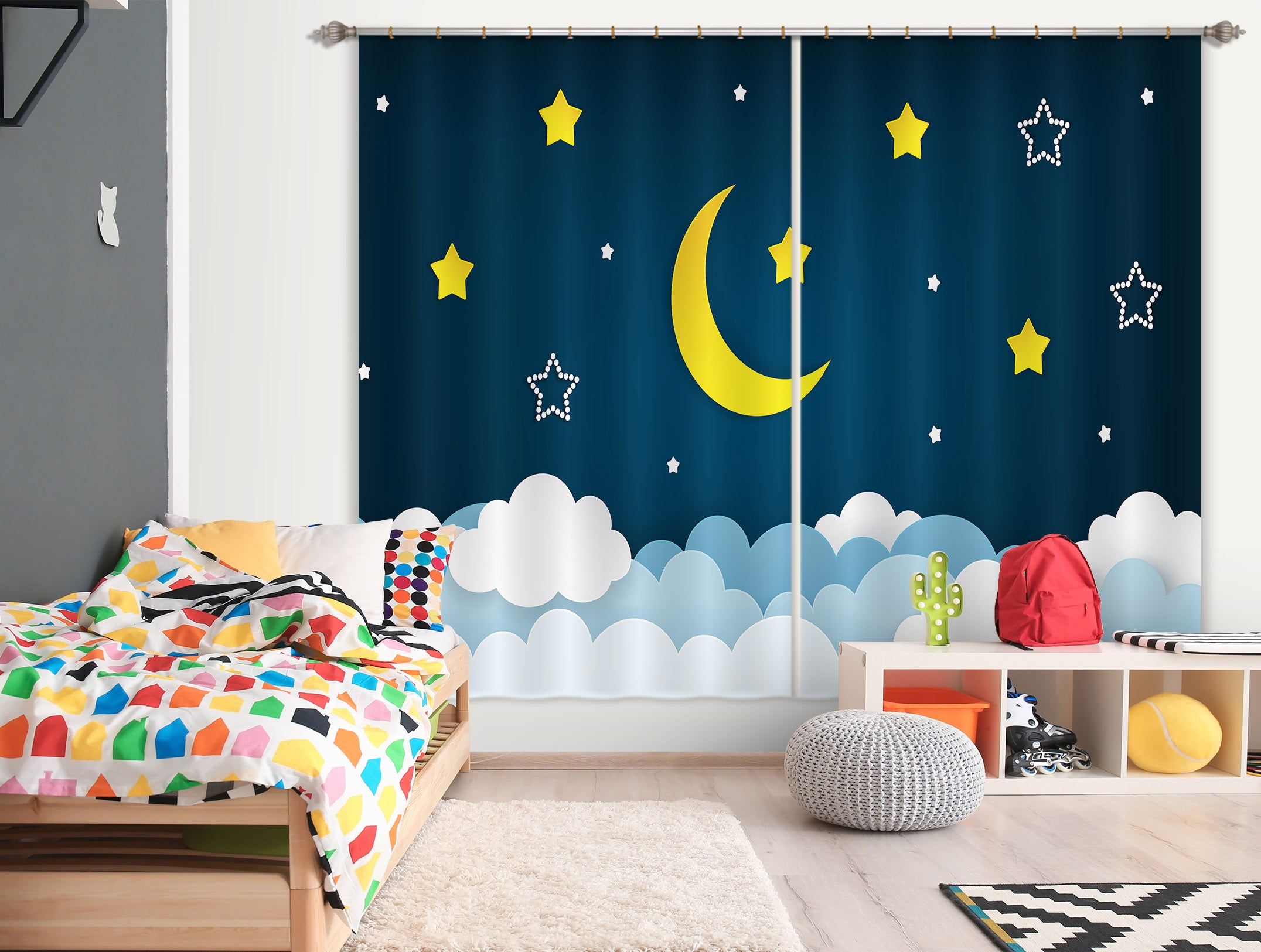 3D Silent Night Sky 786 Curtains Drapes