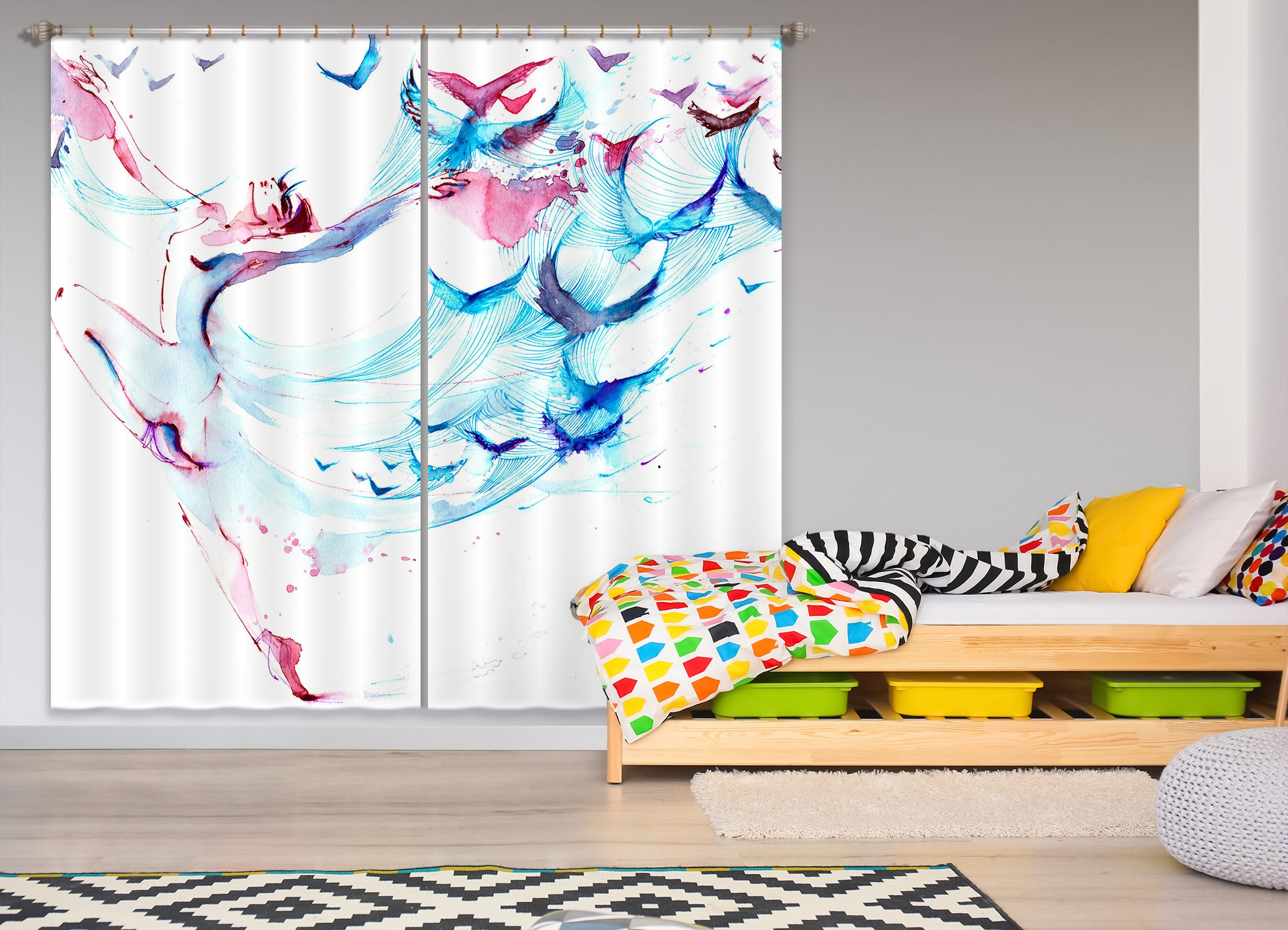 3D Color Graffiti 839 Curtains Drapes
