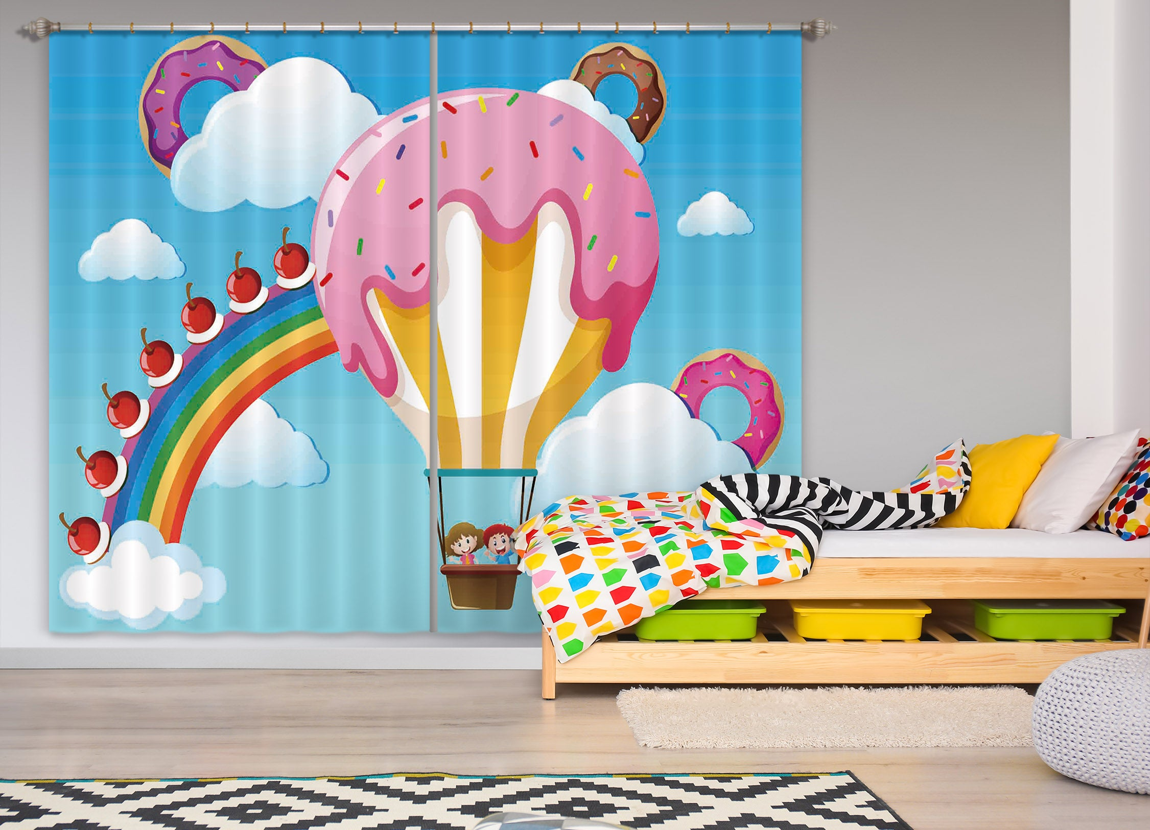 3D Hot Air Balloon 789 Curtains Drapes
