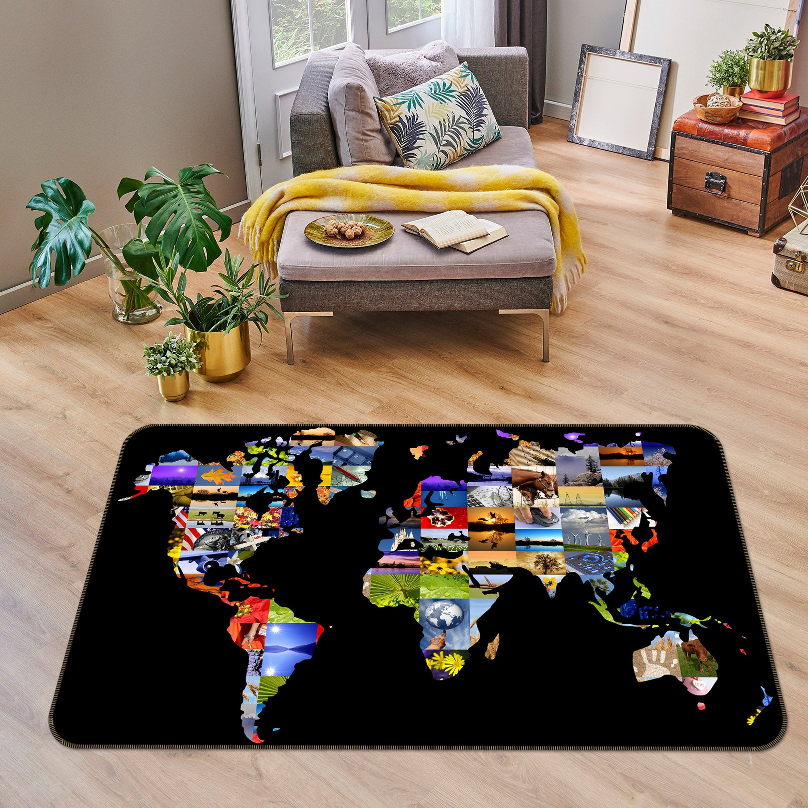 3D Color Painting 208 World Map Non Slip Rug Mat
