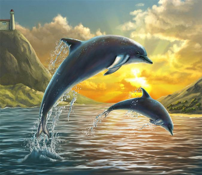 3D Jumping Dolphins 464 Wallpaper AJ Wallpaper