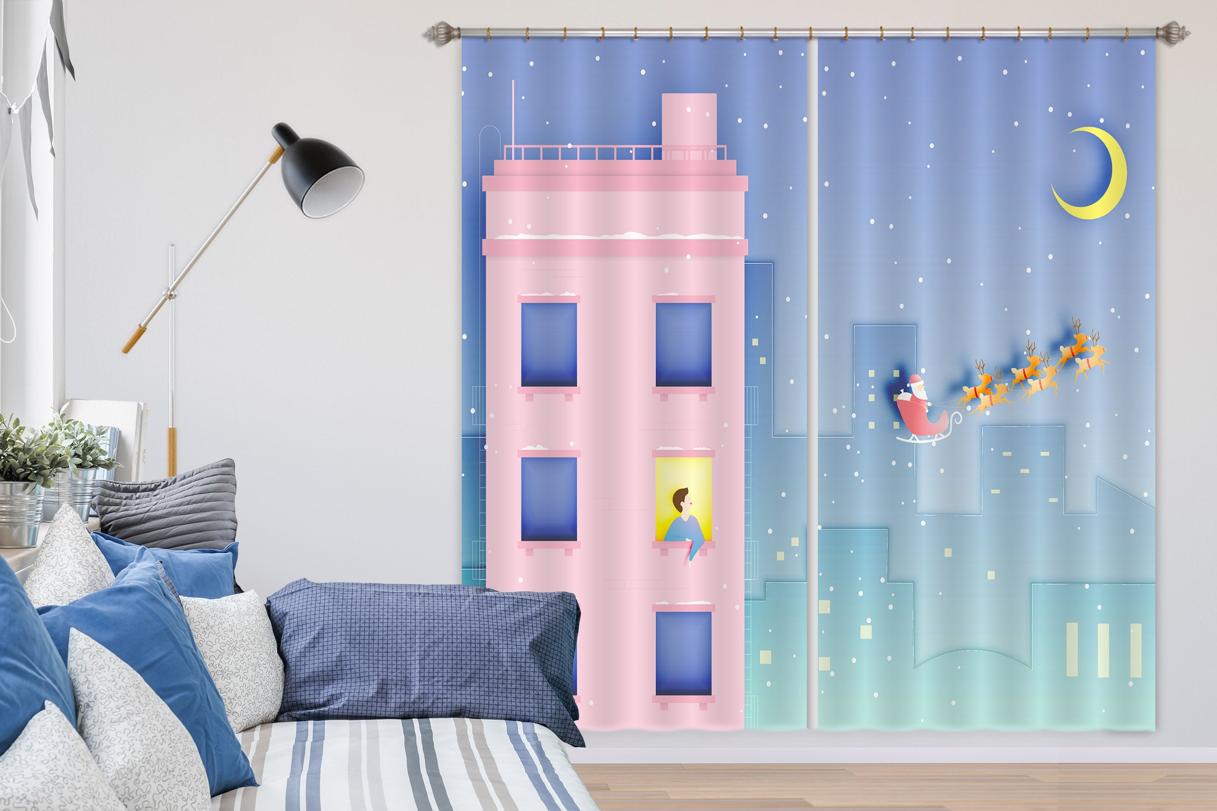 3D Pink House 793 Curtains Drapes