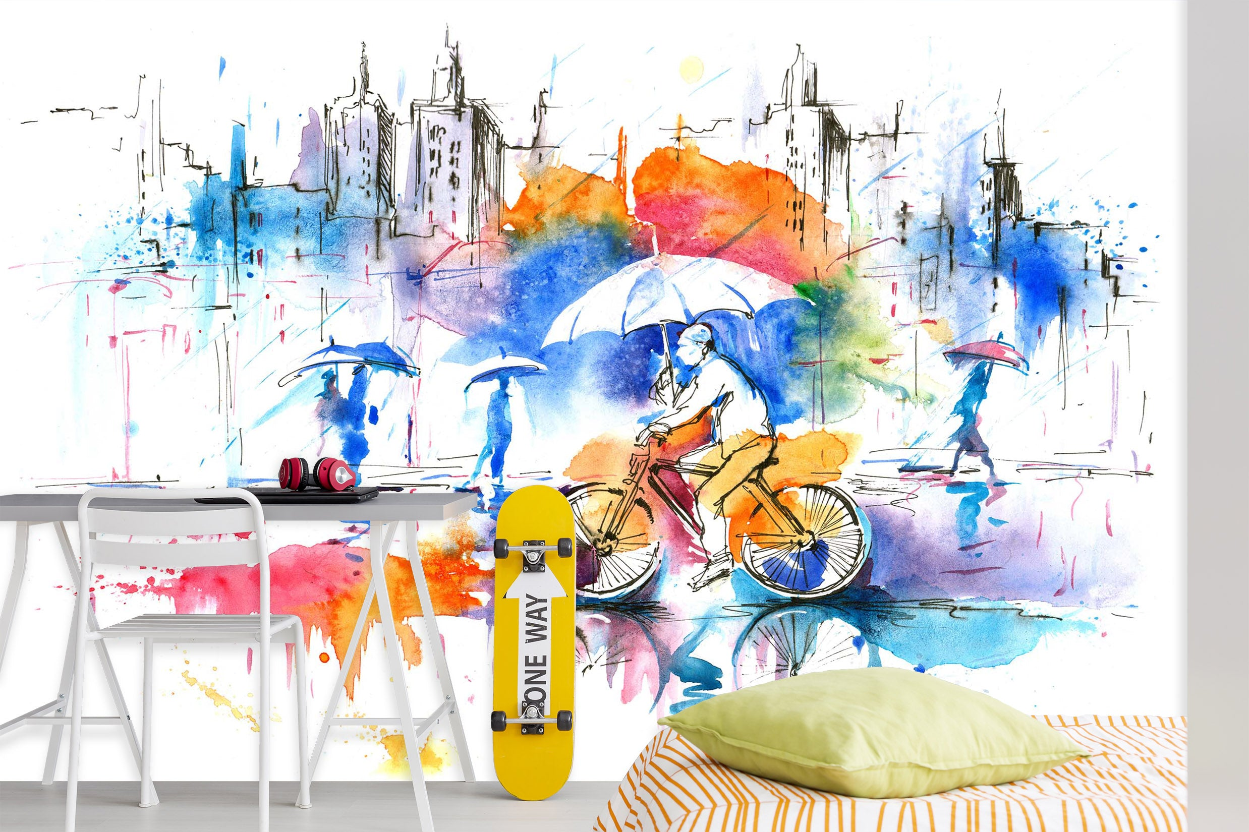 3D Umbrella Bike 2041 Wall Murals