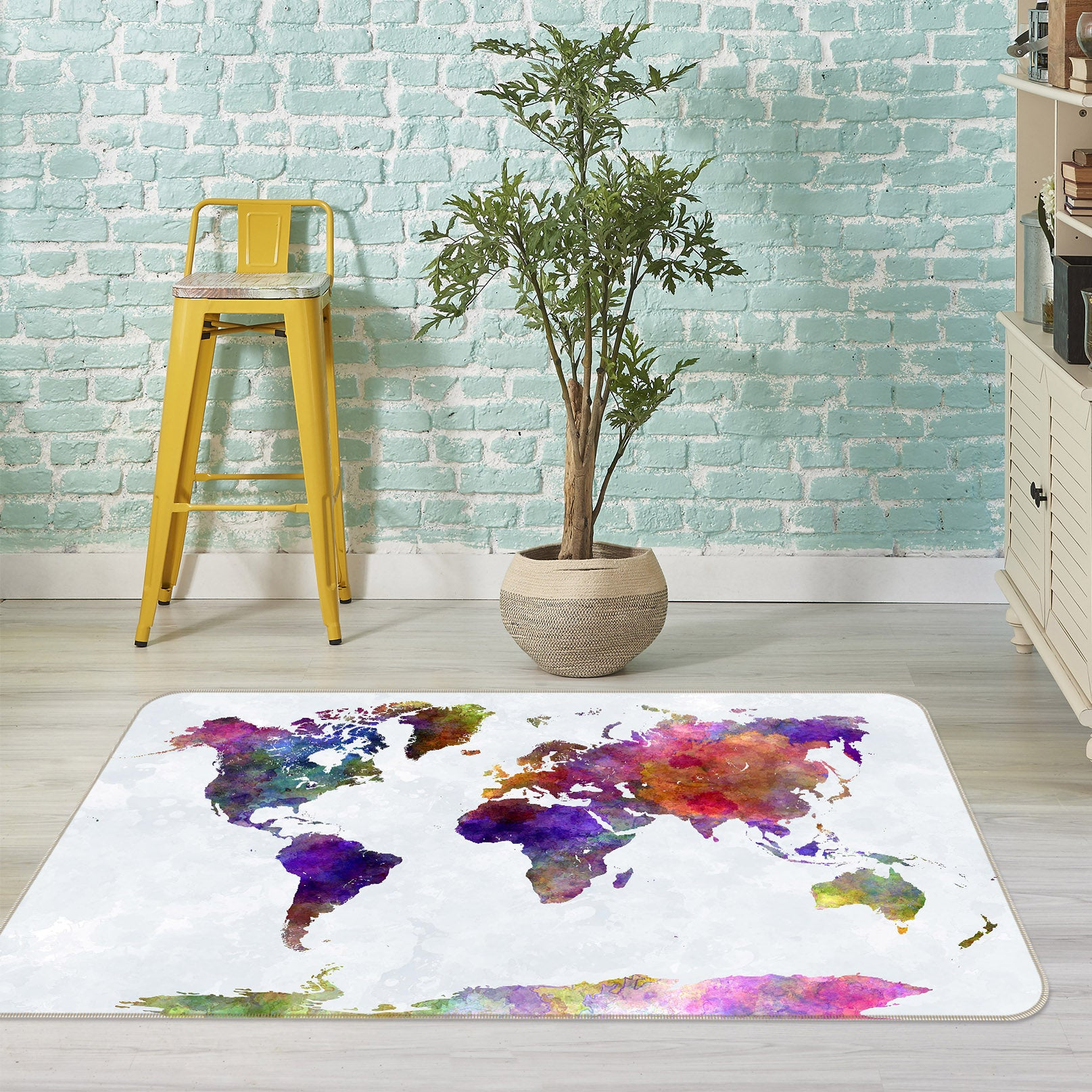 3D Color Cloth 201 World Map Non Slip Rug Mat