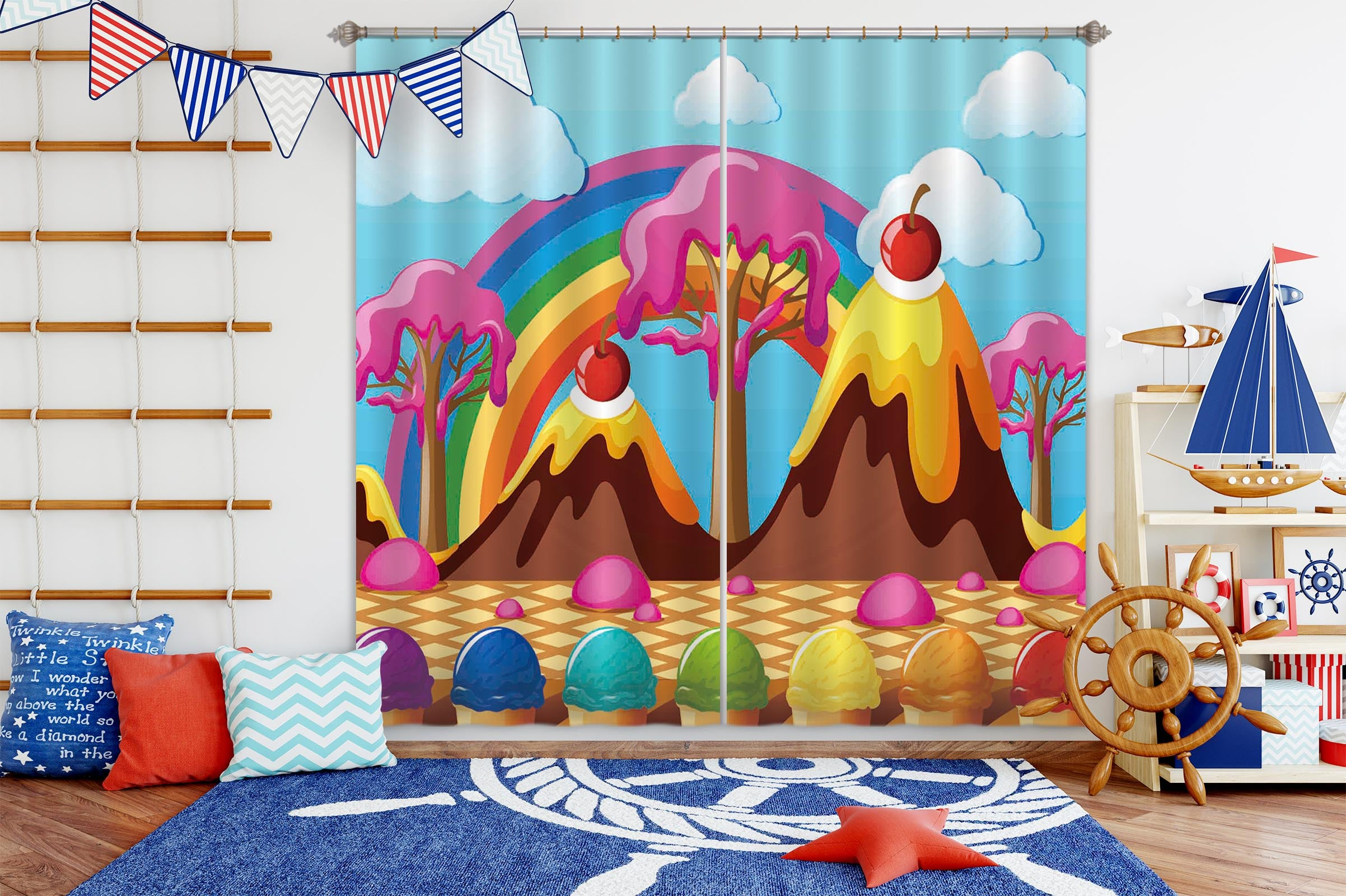 3D Cake House 779 Curtains Drapes