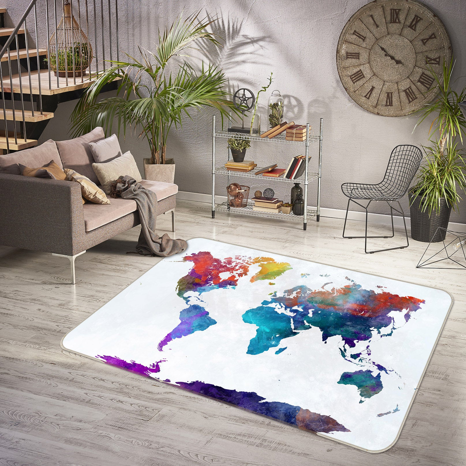 3D Colored Flag 203 World Map Non Slip Rug Mat