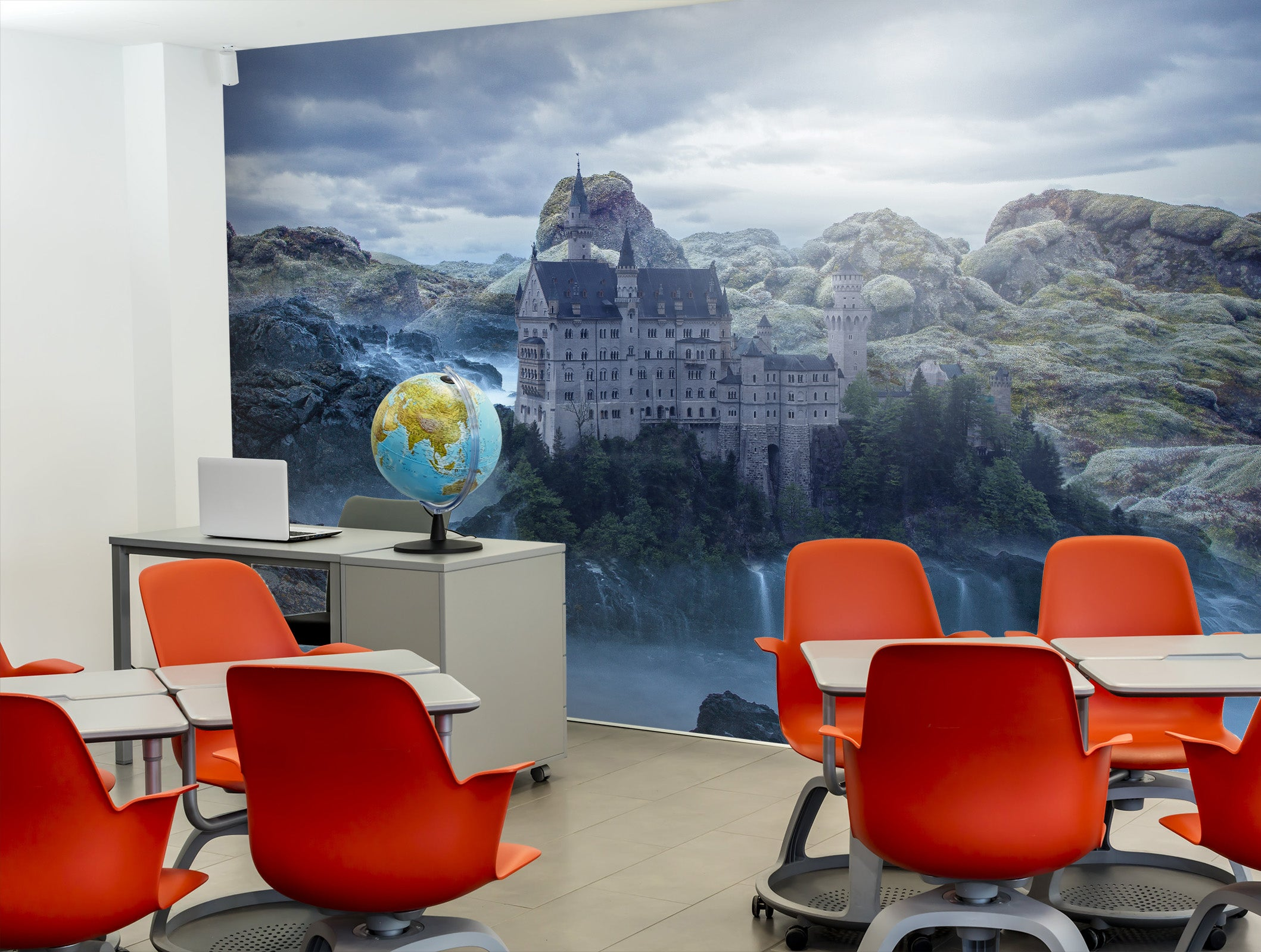 3D Castle River 153 Wall Murals