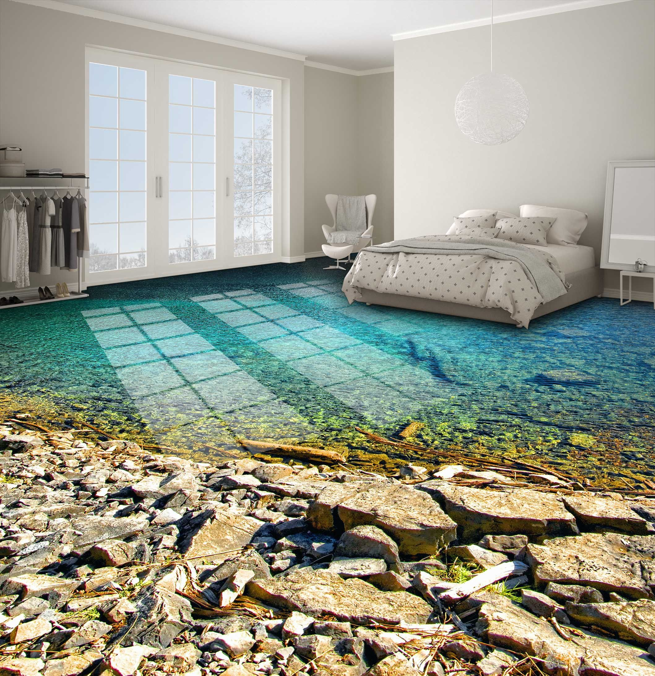 3D Lake Gravel Floor Mural