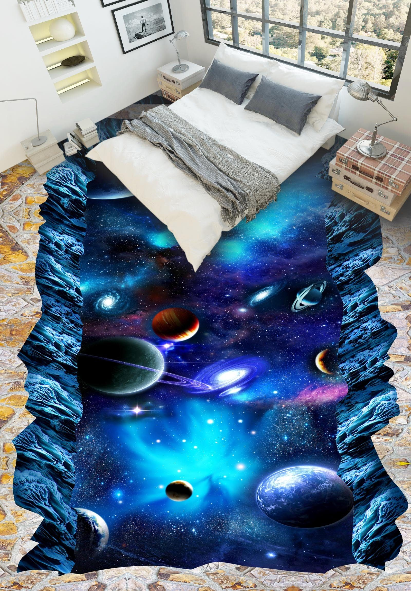 3D Bright Blue Space Floor Mural Wallpaper AJ Wallpaper 2