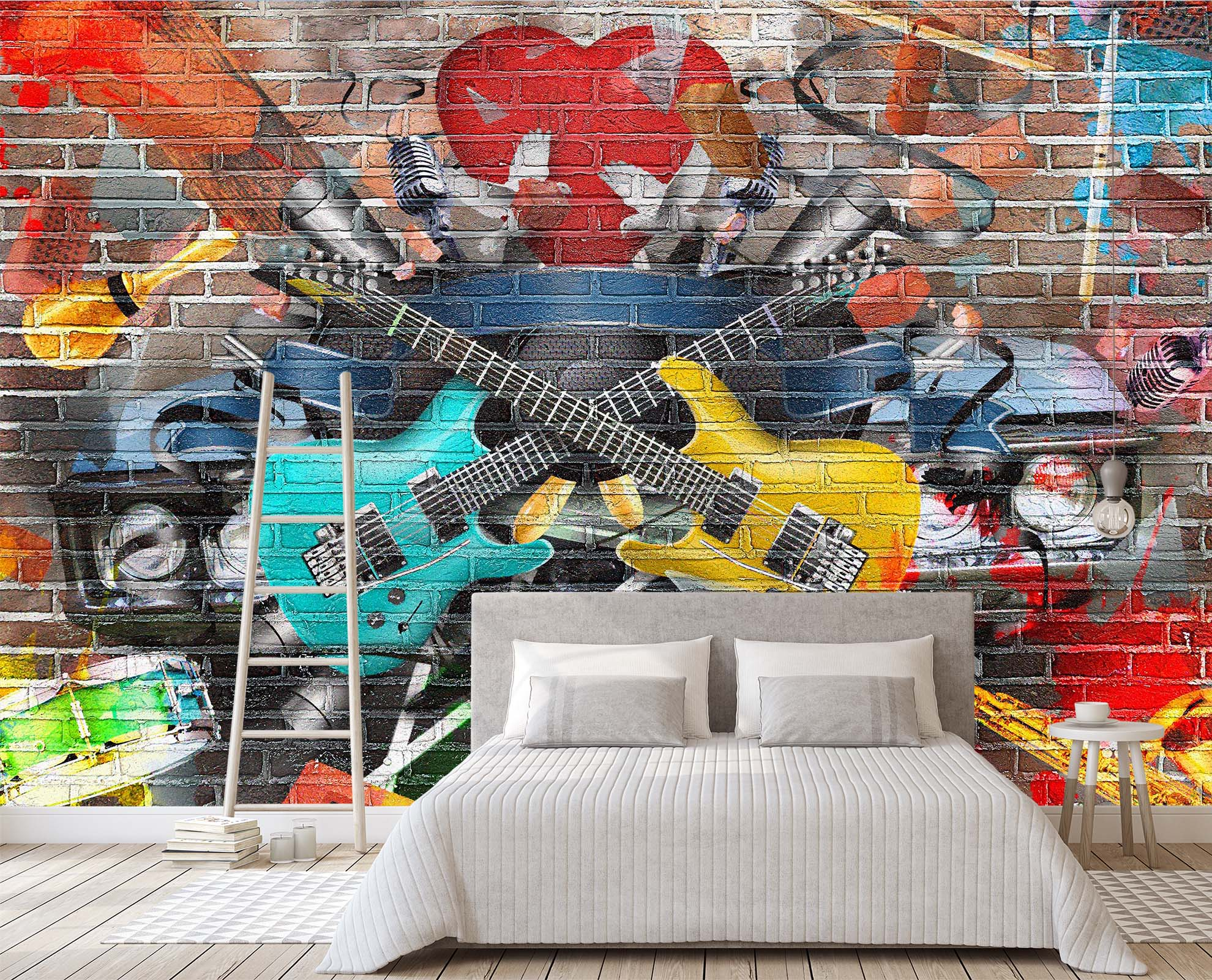 3D Graffiti Guitar 151 Wall Murals