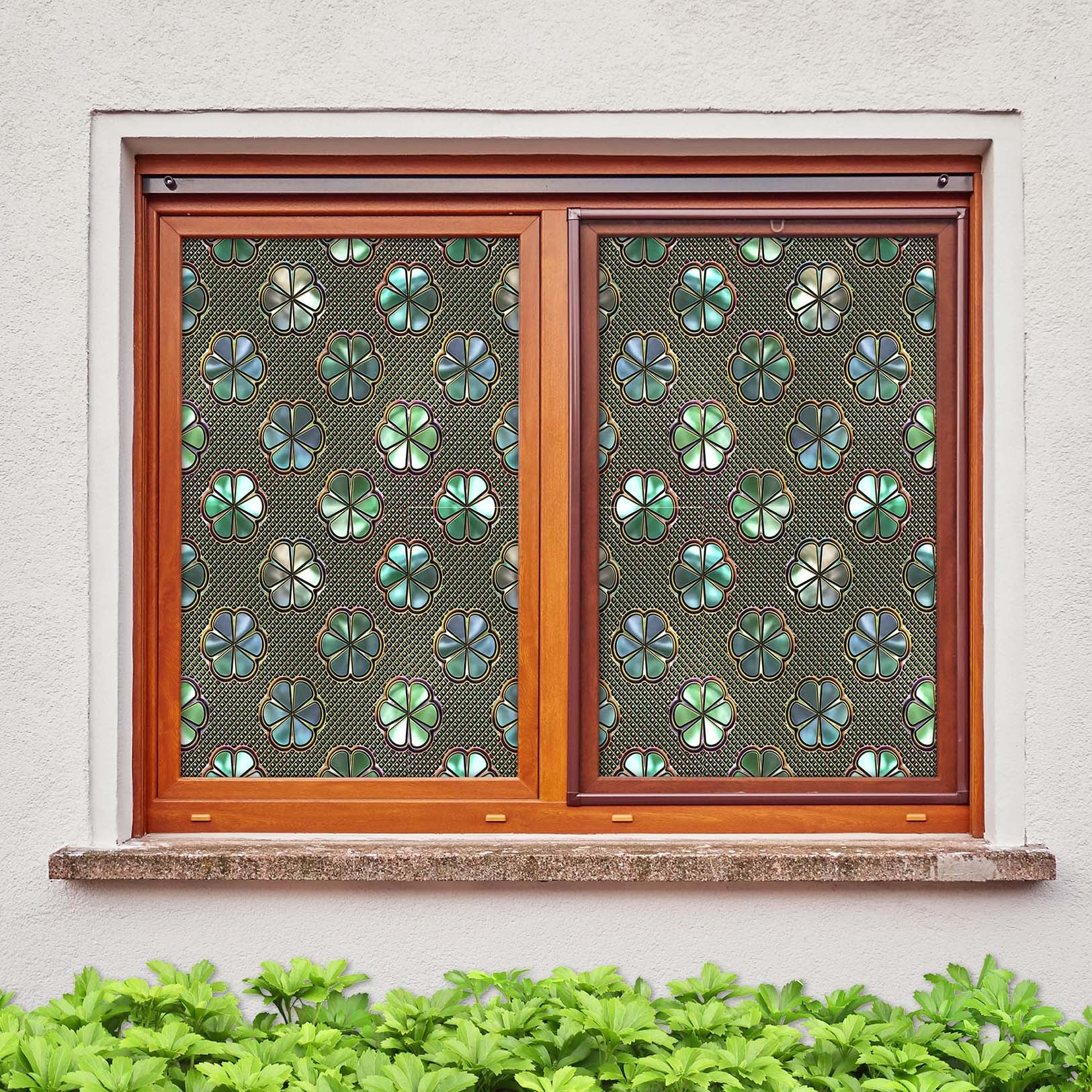 3D Lucky Grass Window 445 Window Film Print Sticker Cling Stained Glass UV Block