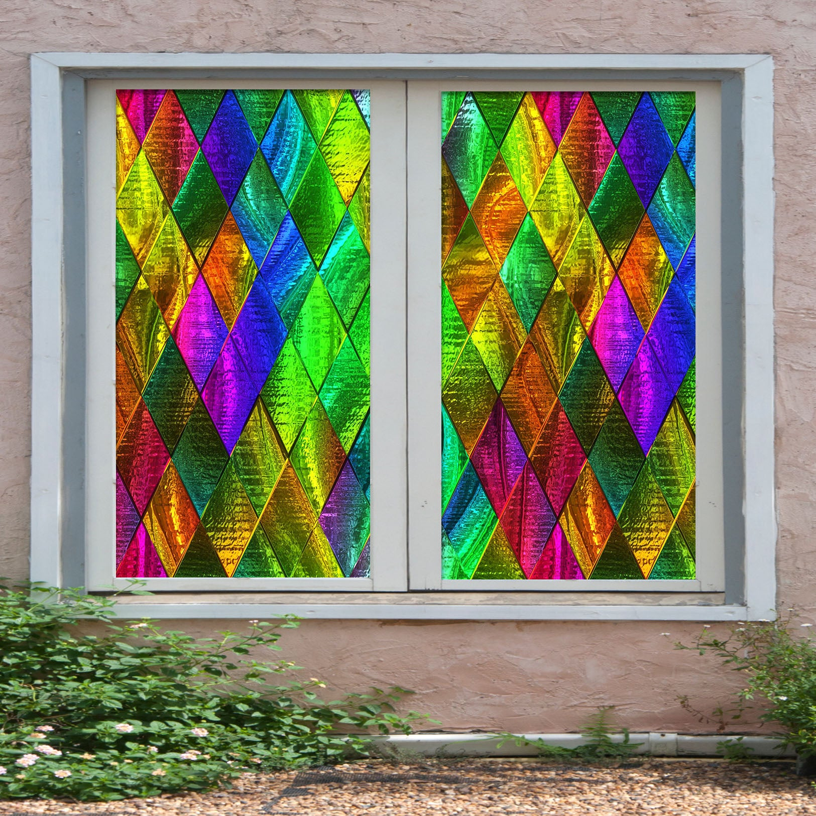 3D Green Diamond 221 Window Film Print Sticker Cling Stained Glass UV Block