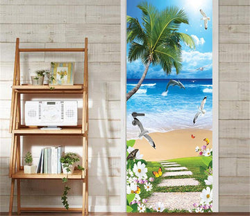 3D the sea and the seagull door mural