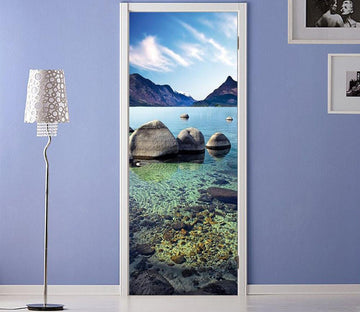 3D blue sky clear water door mural Wallpaper AJ Wallpaper