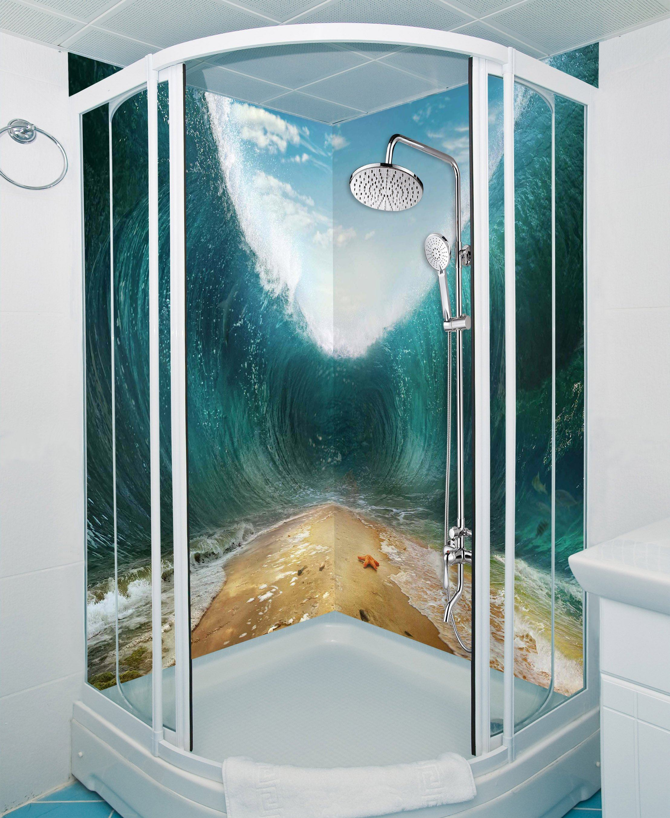 3D Beach High Waves 36 Bathroom Wallpaper